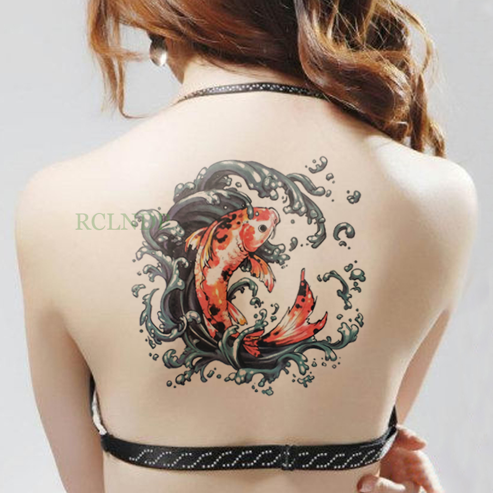 Wodoodporna Tymczasowa Naklejka Tatuaż Na Ciele Duże Ramię 2022cm Czerwony Karp Koi Tatuaż Naklejki Flash Tatuaż Fałszywe Tatuaże Dla Mężczyzn