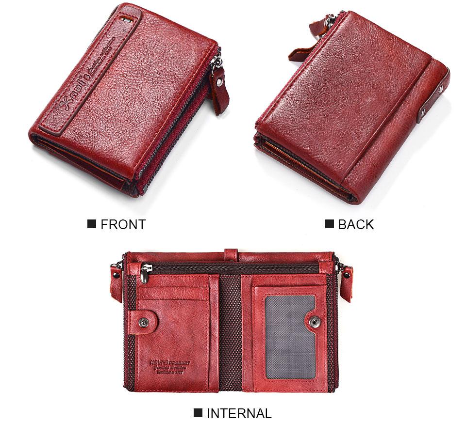 Topdudes.com - 100% Genuine Leather Short Zipper Coin Purse