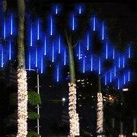 Meteor Shower Rain Tubes 144led 8 Tubes AC100 240V LED String Christmas Lights Wedding Party Garden