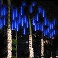 Tubos Chuva de Meteoros Chuva 144led 8 tubos AC100-240V LED cordas Luzes De Natal Festa de Casamento Jardim Luz Ao Ar Livre DA UE/EUA plugue UW