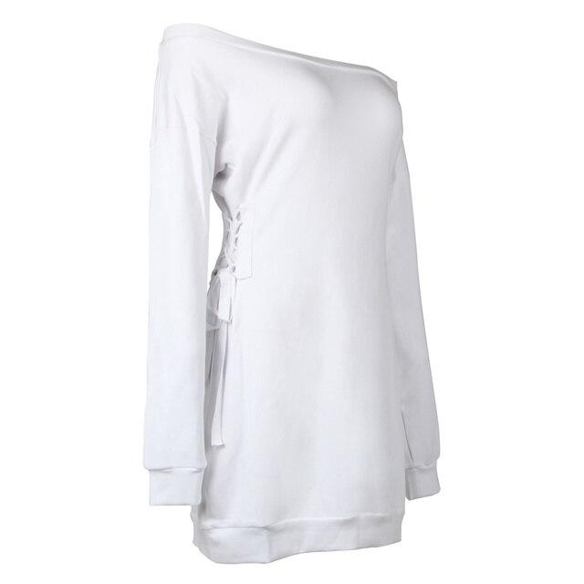 Glamorous Lace Up Slash Neck Sweatshirt Dress Kylie Jenner White Long Sleeve Solid Off The Shoulder Sexy Mini Women Dress 3