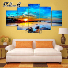 FULLCANG diy diamond painting natural sunset scenery full drill 5pcs cross stitch mosaic 3d embroidery multi-picture G1274