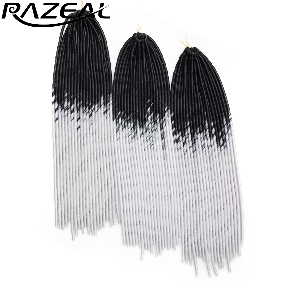 Razeal 3PC Faux Locs Crochet braid Synthetic Hair Extensions Ombre Burgundy Gray 20 100g PC 20