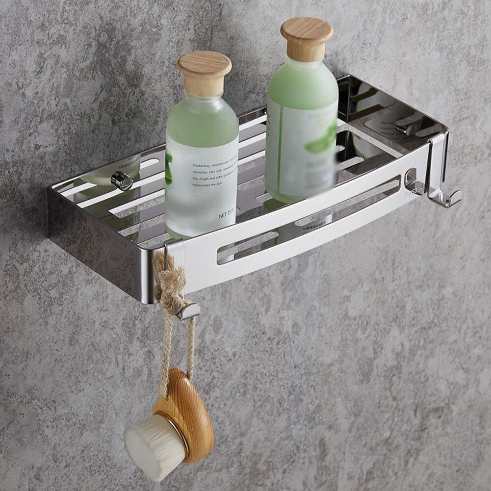 Shelf Kitchen Modern Wall Mounted Organizer Rustproof Shower Self Adhesive Home Storage Basket Punch Free Stainless Steel
