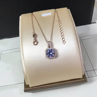 Sterling silver 925 classic popular original fashion simple design cool square inlaid zircon ladies charm necklace holiday gift