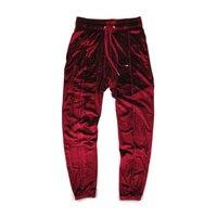 Hip Hop Streetwear Velvet Pants Autumn Solid Color Drawstring Elastic Waist Velour Joggers Thick Warm oversized Sweatpants