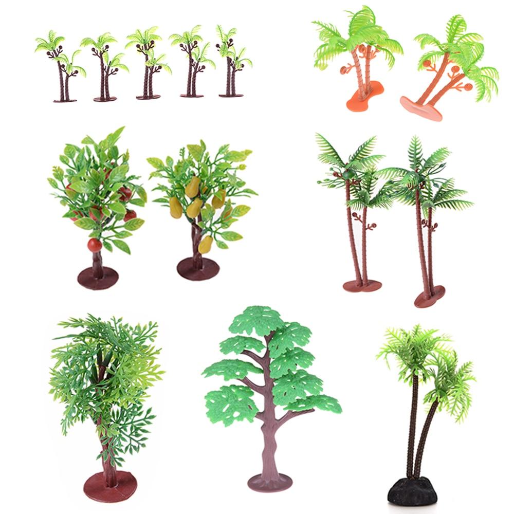 1/2Pcs/lot New Nontoxic Artificial Aquarium Coconut Trees Plants Ornament Decoration Kids Toys 6cm