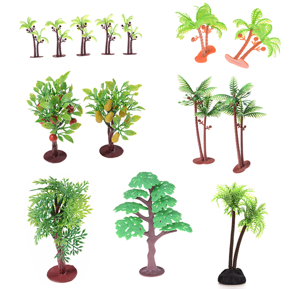 2Pcs/lot New Nontoxic Artificial Aquarium Coconut Trees Plants Ornament Decoration Kids Toys 6cm
