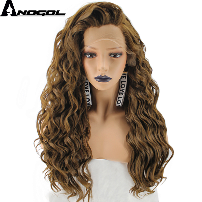 Anogol High Temperature Fiber Free Part Natural Long Blonde Kinky Curly Synthetic Lace Front Wig For Womens ladies Girls