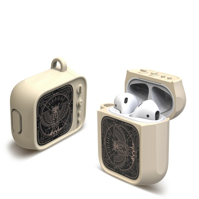 Auriculares Bluetooth inalámbricos estilo TV con carcasa para funda de Airpods, funda protectora completa de caucho blando de silicona para Airpods