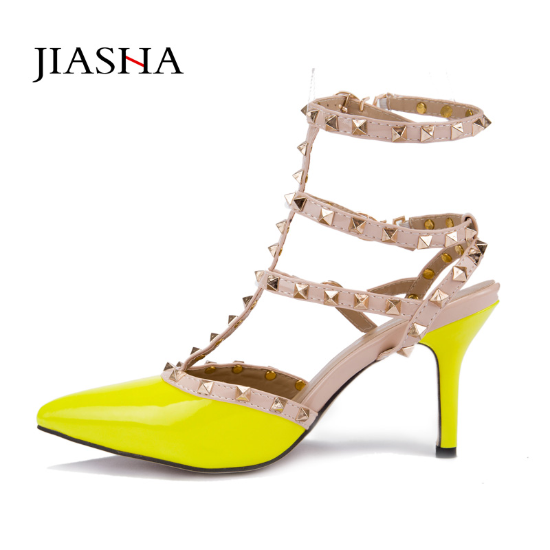 Women shoes 2017 new chaussure femme zapatos mujer valentine 3 straps rivets shoes women pumps high