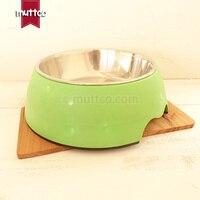 Удобный высокое качество съемный двойной противоскользящие нержавеющая сталь матовая поверхность след Зеленые Собаки Миску db-011