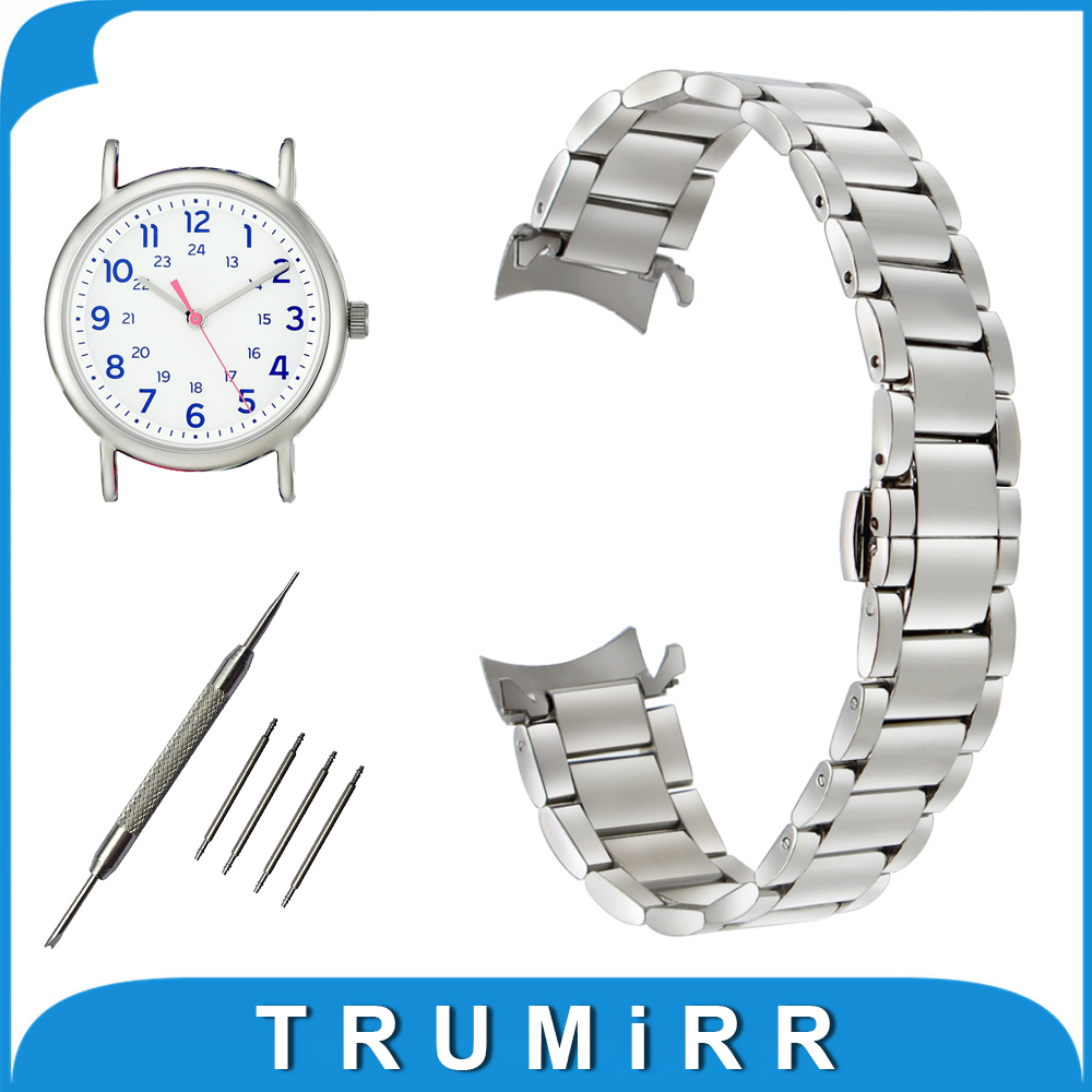 18mm 20mm 22mm Stainless Steel Watch Band for Timex Weekender Expedition Curved End Strap Butterfly Buckle Belt Wrist Bracelet timex часы timex tw4b03500 коллекция expedition