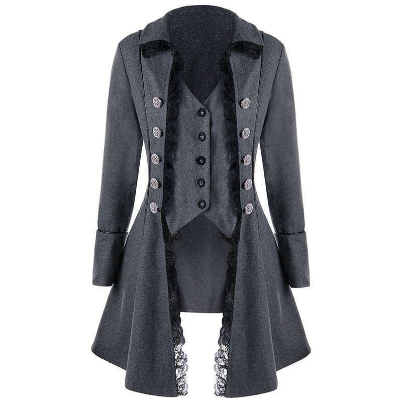 Fashion Men's Jacket Autumn Warm Gothic Medieval Steampunk Victorian Lace Single Button Coat Outwear Male Long   Trench