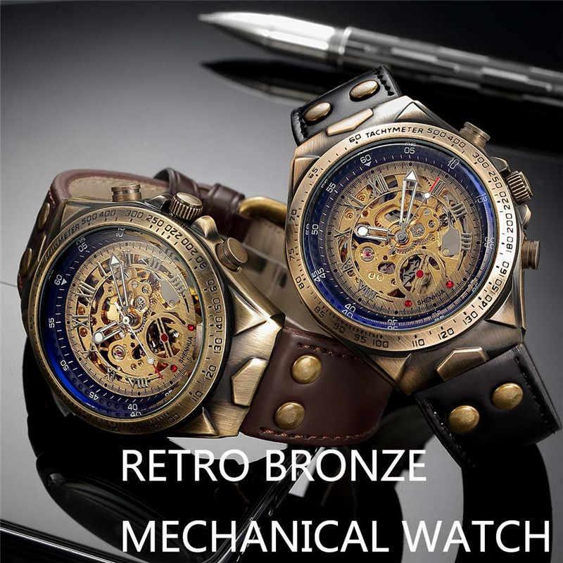Reloj de hombre esqueleto mecánico automático reloj Masculino marca superior de lujo Retro bronce Deporte Militar reloj de pulsera