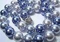 Natural Mar Do Sul da Shell Colar de Pérolas de Moda Destaque AAA 10 MM Bead Azul Cinza Colorido Colares Presente para as mulheres Jóias