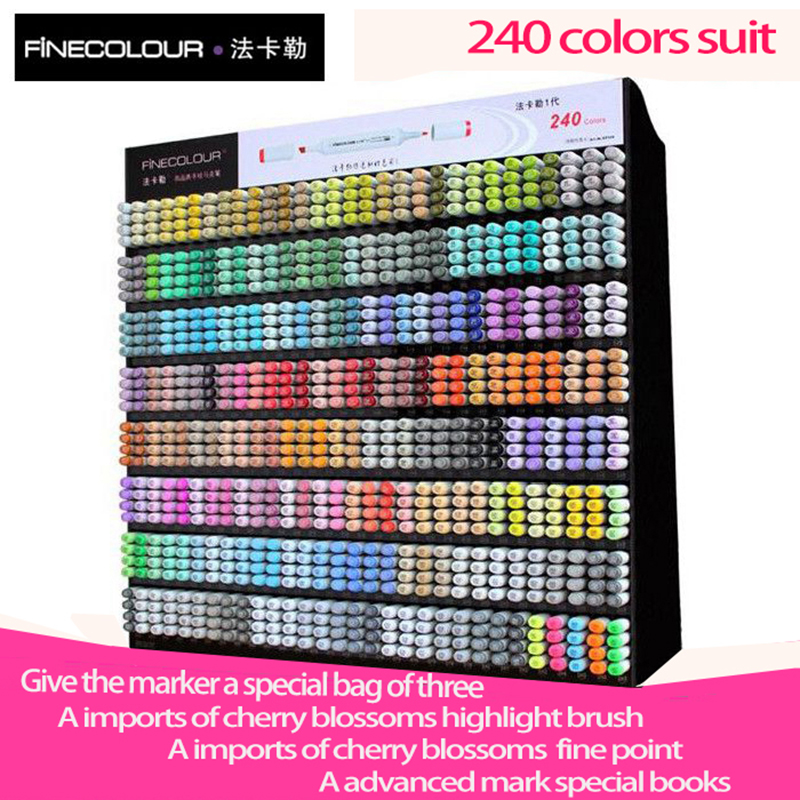 Finecolour one generations Students Anime Hand-painted Double Oily art Mark Pen 240 Color suit Professional design Manga Marker w110145 soft head fine water mark pen 48 60 color beginners painting professional equipment advanced ink student art suit