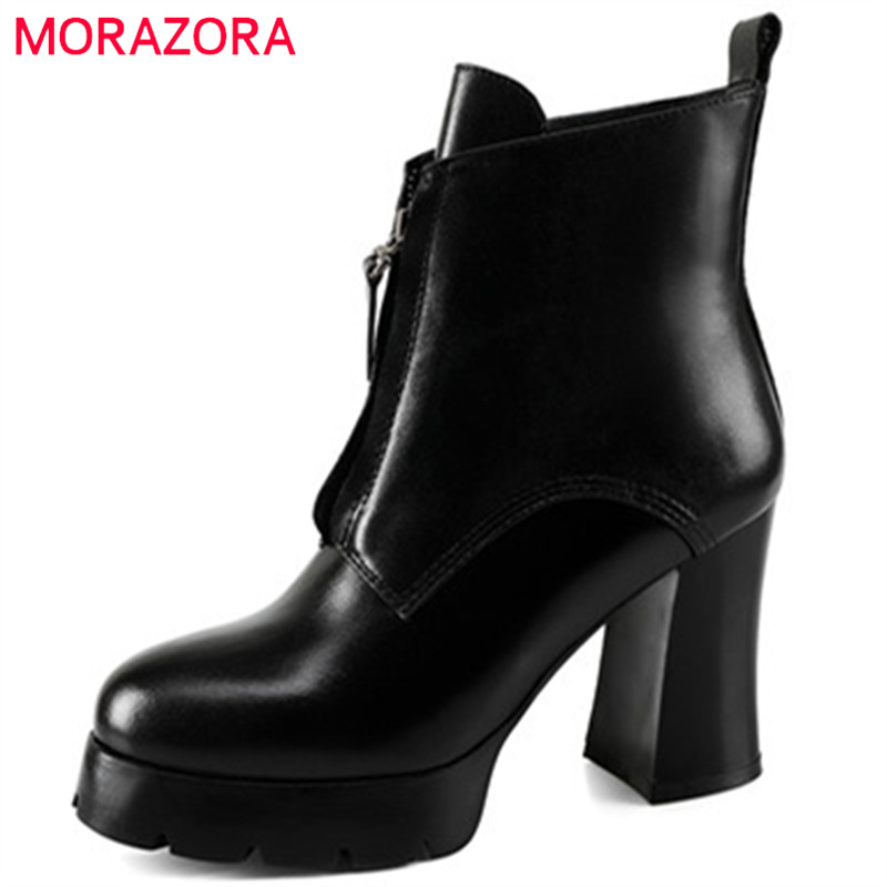 MORAZORA Big size 34-40 high heels shoes woman genuine leather boots platform zip ankle boots for women spring autumn morazora fashion punk shoes woman tassel flock zipper thin heels shoes ankle boots for women large size boots 34 43
