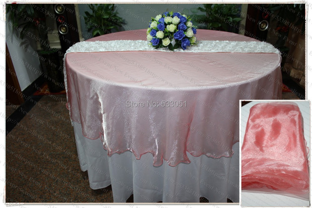 210cm Round NO.17 Coral Color Organza Table Overlay/Table Cover/Tablecloth  For
