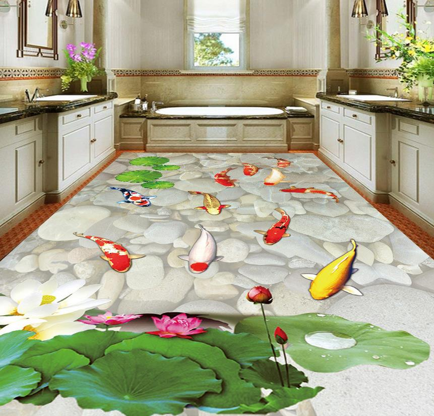 3d customized wallpaper Lotus Carp Bathroom Living Room 3D Floor pvc self-adhesive wallpaper Home Decoration customized home personalized seamless integration of the abstract paintings lotus wallpaper 1x3m