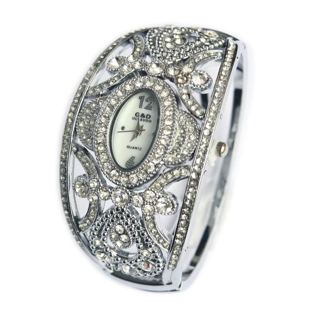 2018 Brand G&D Luxury Women Watches Silver Crystal Ladies Bracelet Watches Quart