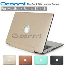 Fashion New silk Leather case for Apple Macbook 12 case with logo hole 1 piece laptop bag cover for Macbook Retina 12 case