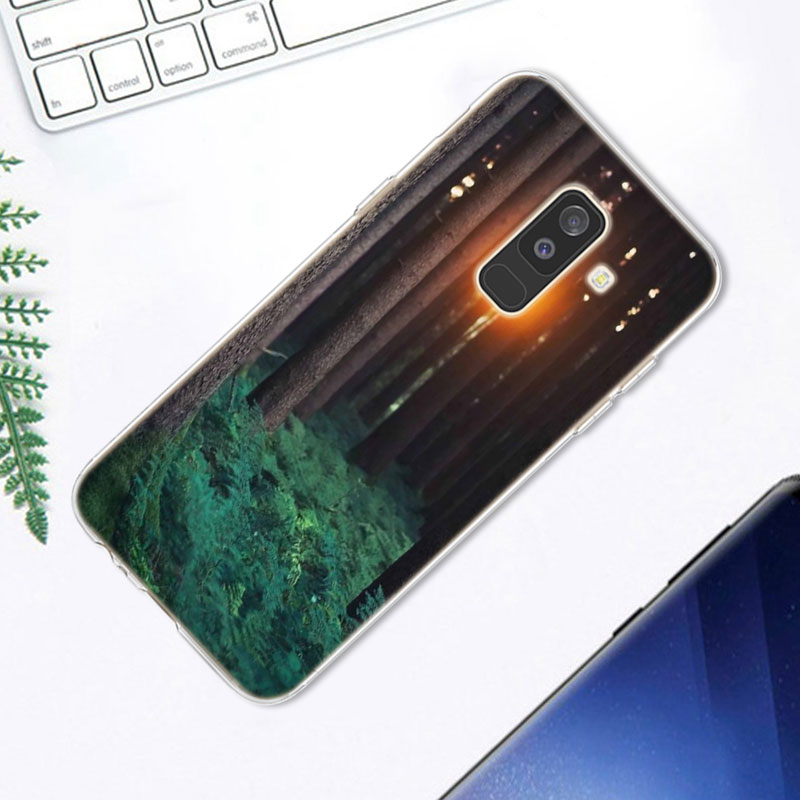 Transparent Soft Silicone Phone Case trees Beach Surf Travel Tropical For Samsung Galaxy A6 A6 A8 Star A8 A7 A5 A3 Plus 2018 2 in Fitted Cases from Cellphones Telecommunications