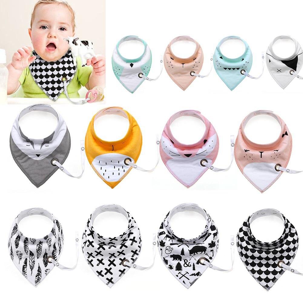 4Pcs/Set Baby Bibs Saliva Towel Arrow Cartoon Cloths Triangular Cotton Towels with Pacifier Chain M09