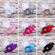 Kids Toddler Infant Baby Girls Lace Flower Pearl Feather Wide Headbands Hairband Hair Bows Fascinators Headpiece  Party Gift