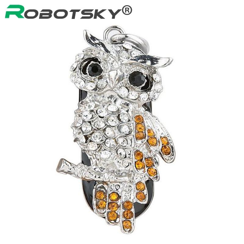 USB Flash Drive Diamond Metallic Materials Owl Cartoon USB 2.zero Flash Drive U Disk to four GB eight GB 16 GB 32 GB flash drive