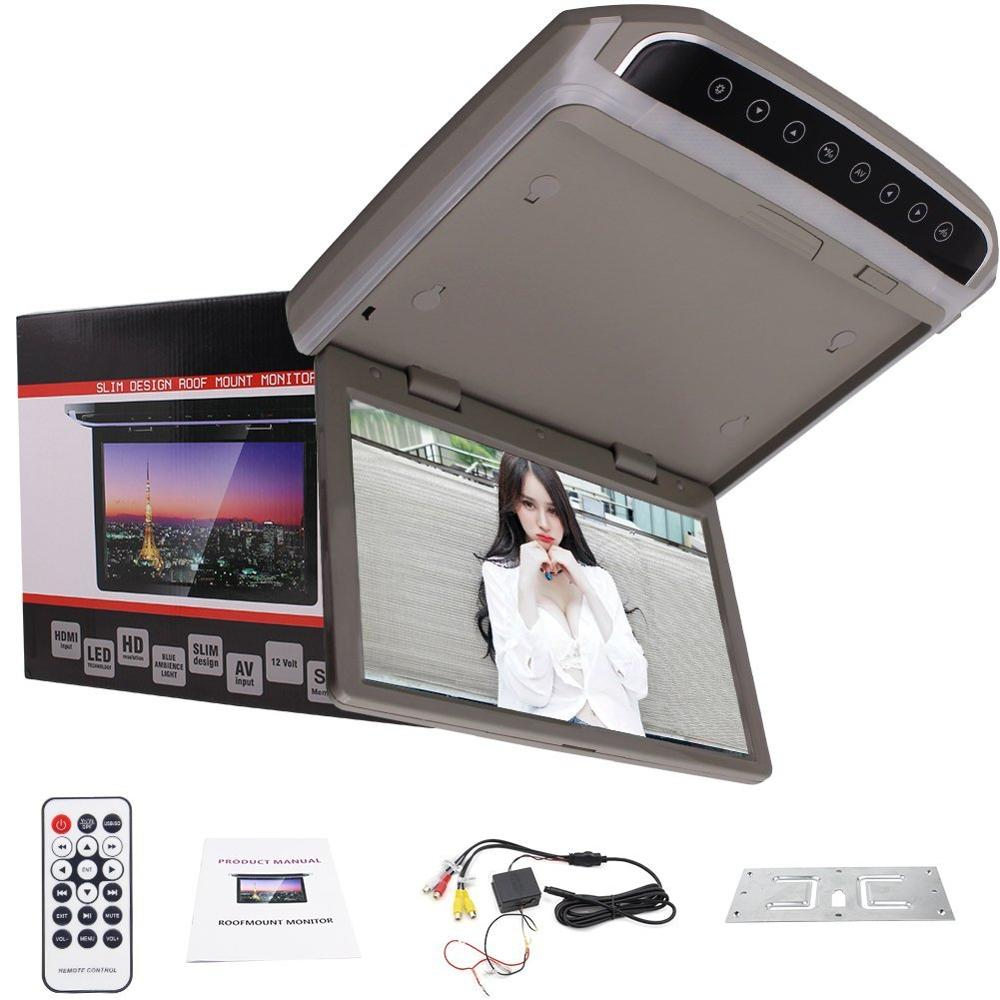 10.2inch high resolution FM SD Car Roof mount Monitor Flip Down Wide screen with wireless remote controller 1080P video display 2x9 inch car headrest dvd with digital panel and with zipper 32bit game ir usb sd fm tonch screen hdmi game monitor radio video