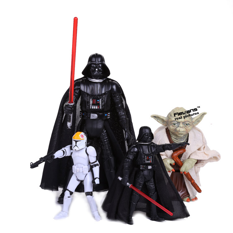 Star Wars Darth Vader Yoda Clone Trooper PVC Action Figure Collectible Model Toy 4 Styles star wars darth vader stormtrooper darth maul pvc action figure collectible model toy 15 17cm kt1717