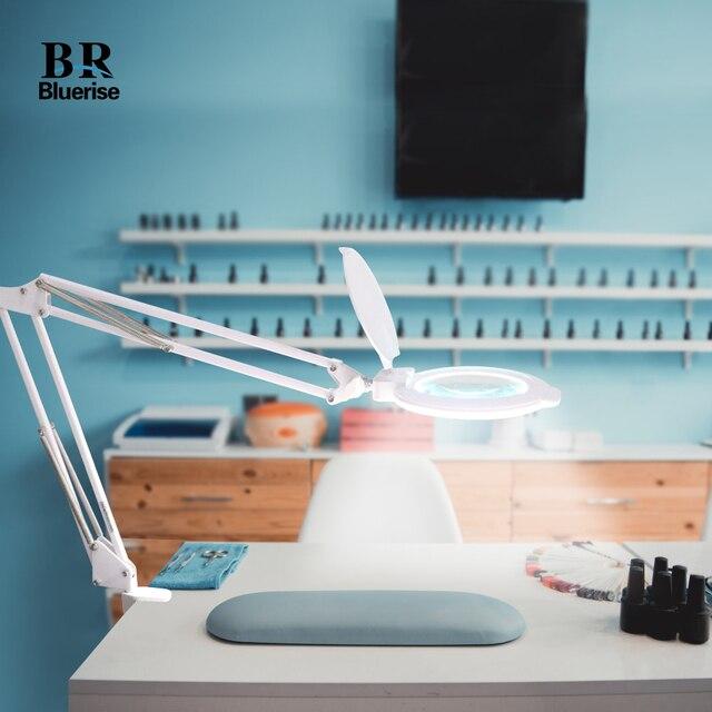 Bluerise 8W 6X lampe de Table pliante pour manucure ongles outils lumière LED grossisseur verre éclairage pour manucure Table ongles Table