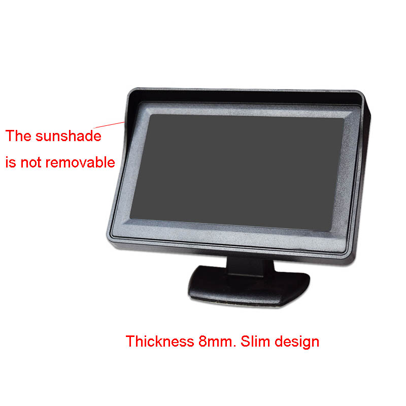 4.3-inch Wide Video Players Car Monitor Voltage 9-35V Two-way AV Input Reversing Priority LCD Digital Display Can To DVD
