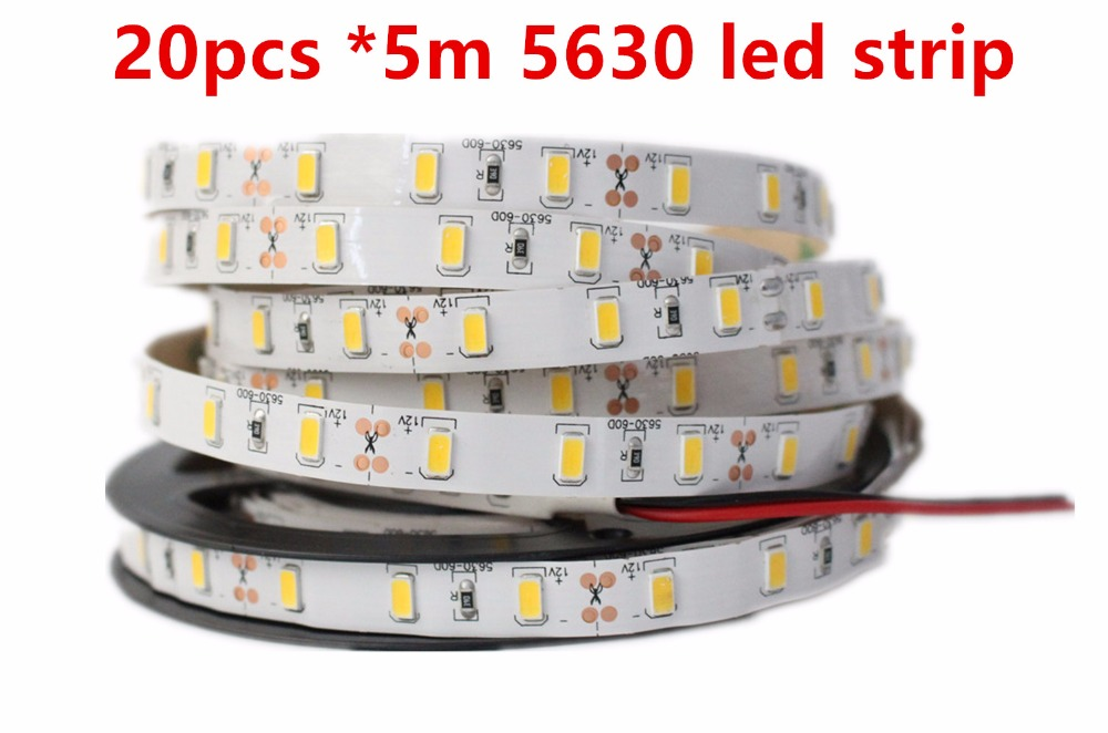 Super Bright 100m lot DC12V 5M 5630 SMD 300 leds Non Waterproof Nature Warm Cool White