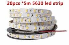 Super Bright 100m/lot DC12V 5M 5630 SMD 300 leds Non-Waterproof Nature/Warm/Cool White Flexible LED Strip Light Freeshipping