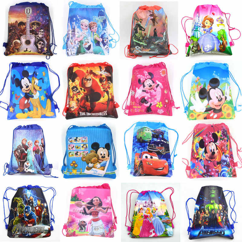 Frozen Cars Minnie Mickey Mouse Moana Coco Sofia Disney Princess Sofia Moana Non-woven Fabrics Drawstring Backpack Shopping bag