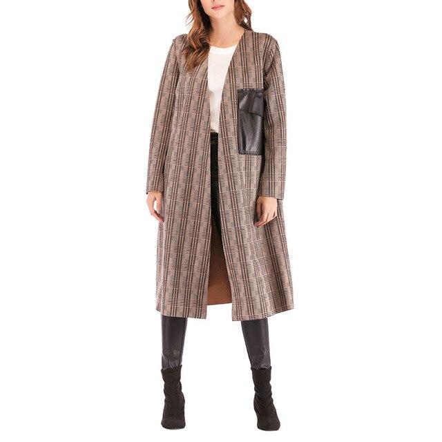 Femmes hiver manteau à capuche automne laine manteau mode femmes treillis hiver à manches longues poches Long manteau femme chaud pardessus