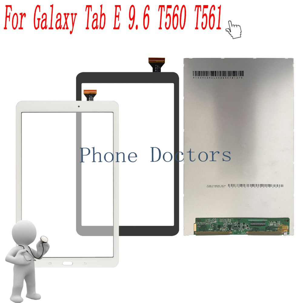 9.6 inch LCD DIsplay + Touch Screen Digitizer Assembly For Samsung Galaxy Tab E 9.6 SM-T560 T560 T561 lcd display touch screen digitizer assembly replacements for samsung galaxy tab e t560 sm t560nu 9 6 free shipping