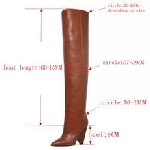 Boots Long Fur Warm Leather Thigh High Boots Fashion Over the Knee MA01