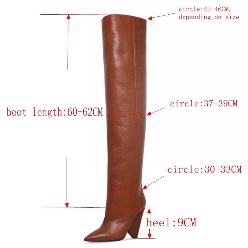 Marke Winter Frauen Stiefel Lange Pelz Warme Leder Oberschenkel Hohe Stiefel Mode Über das Knie Motorrad Stiefel High Heels Schuhe frau