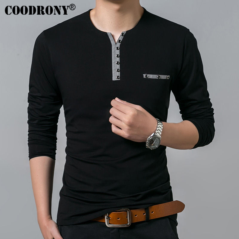 COODRONY Cotton   T     Shirt   Men 2018 Spring Autumn New Long Sleeve   T  -  Shirt   Men Henry Collar Tee   Shirt   Men Fashion Casual Tops 7617