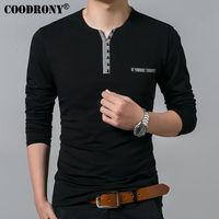 COODRONY Pure Cotton T Shirt Men 2017 Spring Autumn New Long Sleeve T Shirt Men Henry