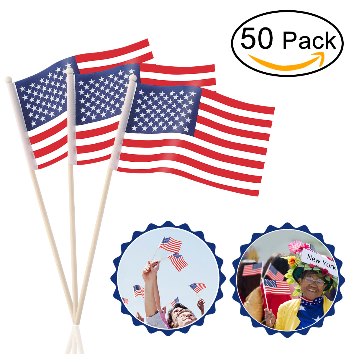 10pcs lot national flag country flag stick flags flag of the united - 50pcs Us Hand Held Stick Flags On Wood Stick Polyester Usa American Flag Us United States