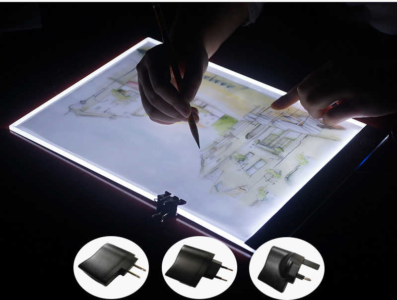 Baru Diamond Lukisan Cross Stitch Ultrathin 3.5 Mm A4 Lampu LED Tablet Pad Berlaku untuk EU/Uk/AU /US/USB Diamond Bordir