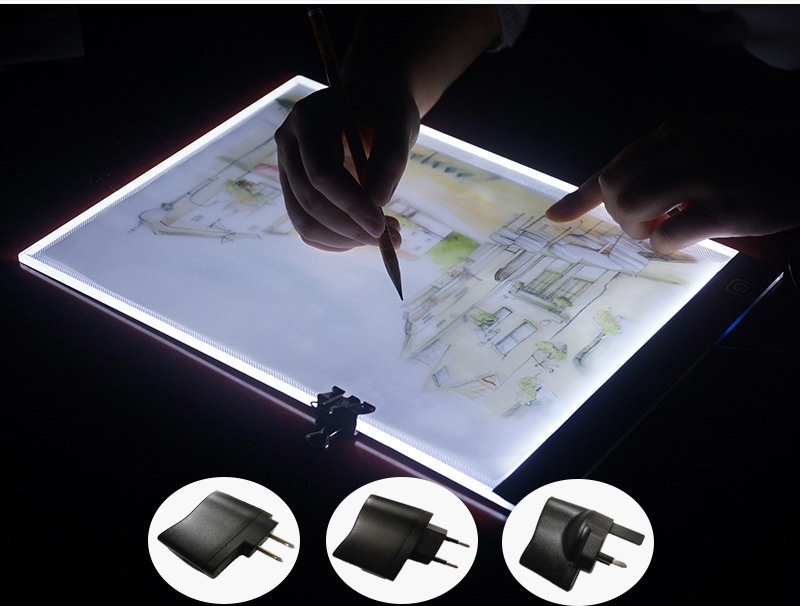 New Diamond Painting Cross Stitch Ultrathin 3.5mm A4 LED Light Tablet Pad Apply to EU/UK/AU/US/USB Plug Diamond Embroidery
