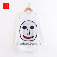 T MODA 2018 New Winter Autumn England Fashion Big Smiley Women Oversize Sweater Dress Long Sleeve