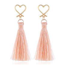 цена на 2019 Real Brinco Contractor On The New European And American Fashion Simple Love Tassel Earrings Manufacturers Selling Goods