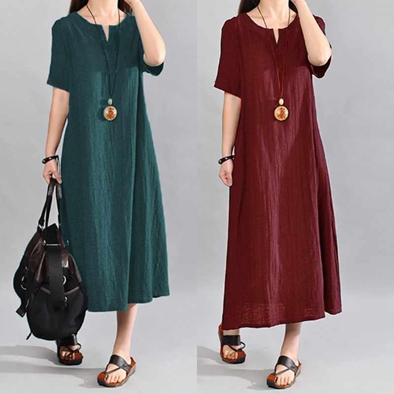 eb9c208bf95 Celmia Plus Size Women Summer Dress 2018 Vintage Linen Vestido Casual V  Neck Short Sleeve Pockets