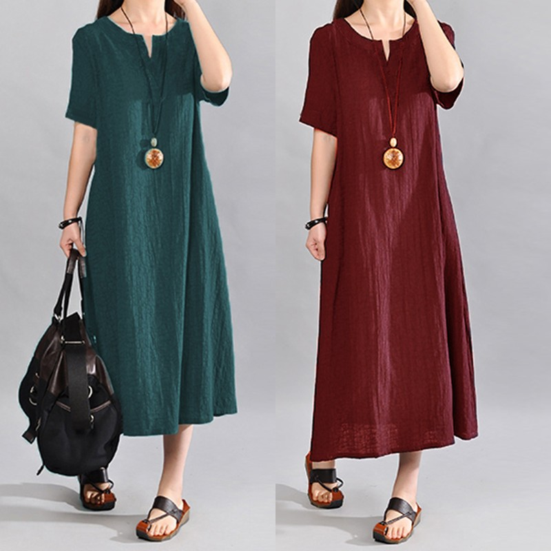 Celmia Women Vintage Linen Dress 2018 Summer Vestido Casual V Neck Short Sleeve Pockets Casual Loose Midi Dress Plus Size S-5XL